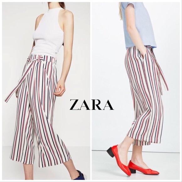3c038818 Zara Pants   Striped Tiewaist Flowing Trousers M   Poshmark